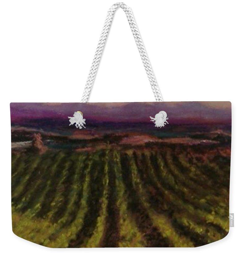 Landscape Weekender Tote Bag featuring the pastel The Vineyard by Pat Snook