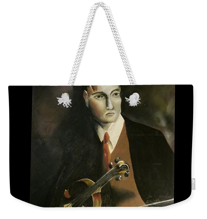 Weekender Tote Bag featuring the painting The Violinist John Murray by Ronnie Lee