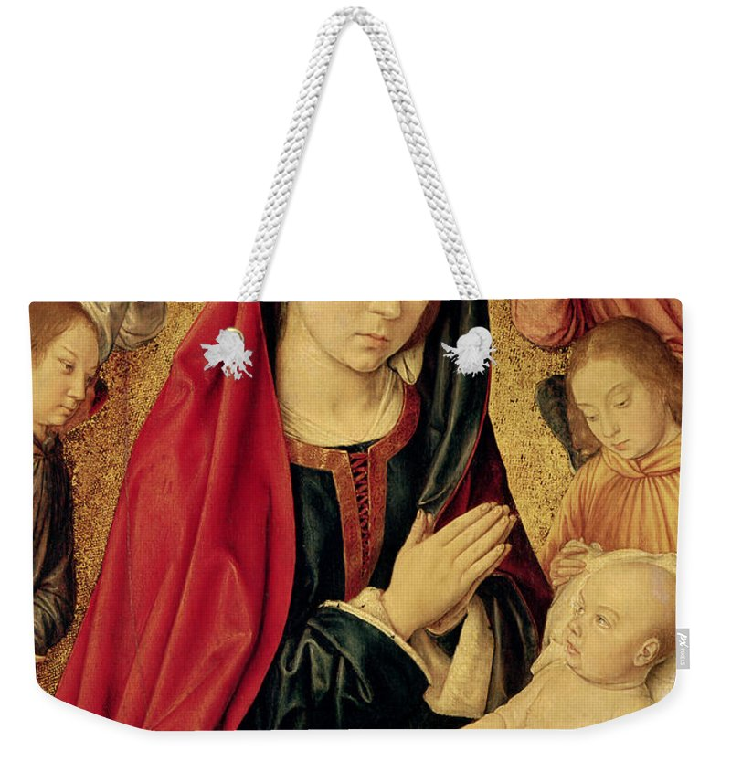 The Weekender Tote Bag featuring the painting The Virgin And Child Adored By Angels by Jean Hey