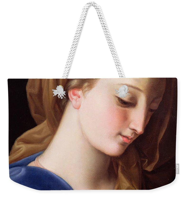 The Virgin Annunciate Weekender Tote Bag featuring the painting The Virgin Annunciate by Pompeo Girolamo Batoni