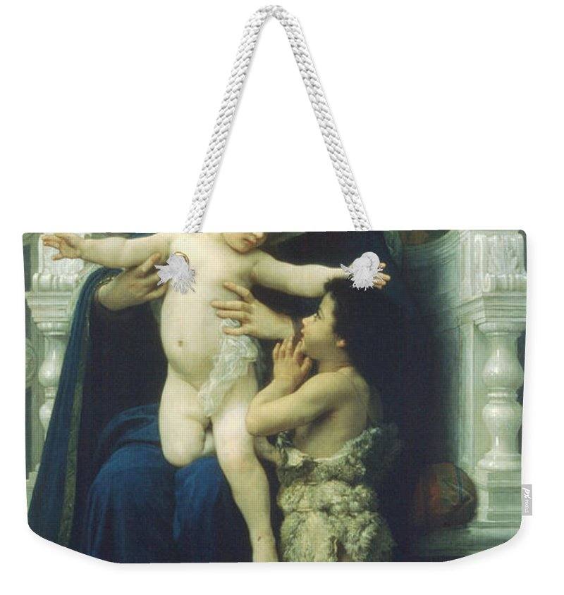 The Virgin Baby Jesus And Saint John The Baptist Weekender Tote Bag featuring the digital art The Virgin Baby Jesus And Saint John The Baptist by William Bouguereau