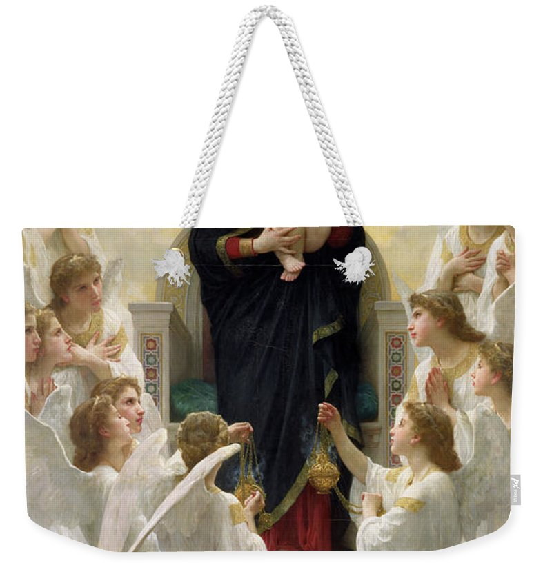 The Weekender Tote Bag featuring the painting The Virgin With Angels by William-Adolphe Bouguereau