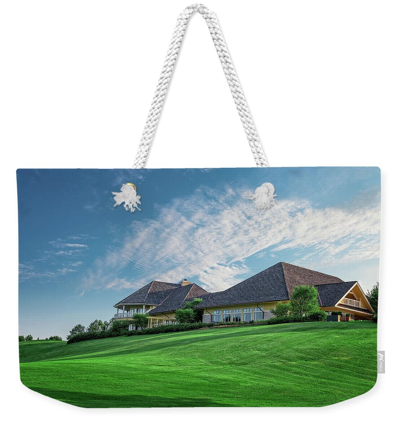 Golf Weekender Tote Bag featuring the photograph The Virtues Golf Course Clubhouse by Tom Mc Nemar