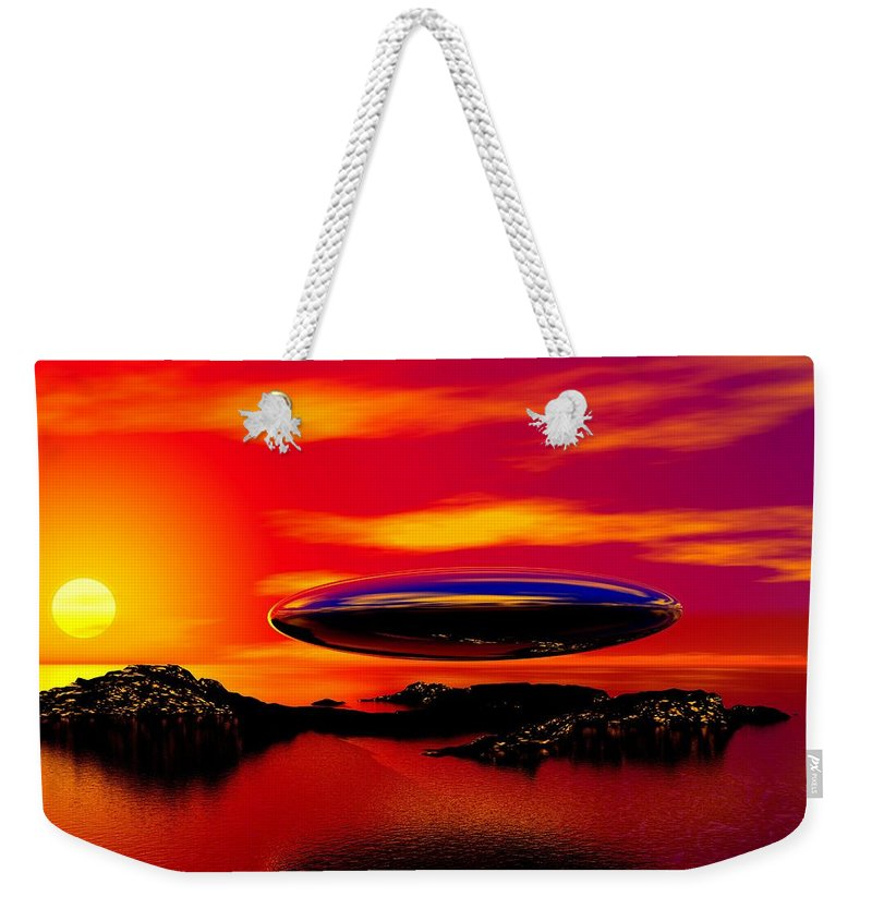 T Weekender Tote Bag featuring the digital art The Visitor by David Lane