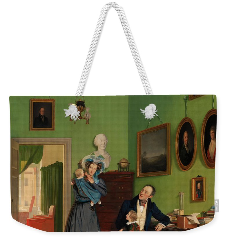 Painting Weekender Tote Bag featuring the painting The Waagepetersen Family by Mountain Dreams