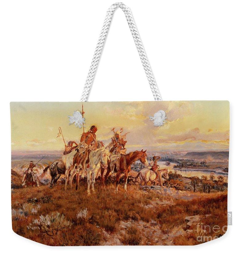 Charles Marion Russell Weekender Tote Bag featuring the painting The Wagons by Charles Marion Russell