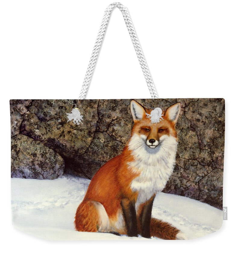 Wildlife Weekender Tote Bag featuring the painting The Wait Red Fox by Frank Wilson