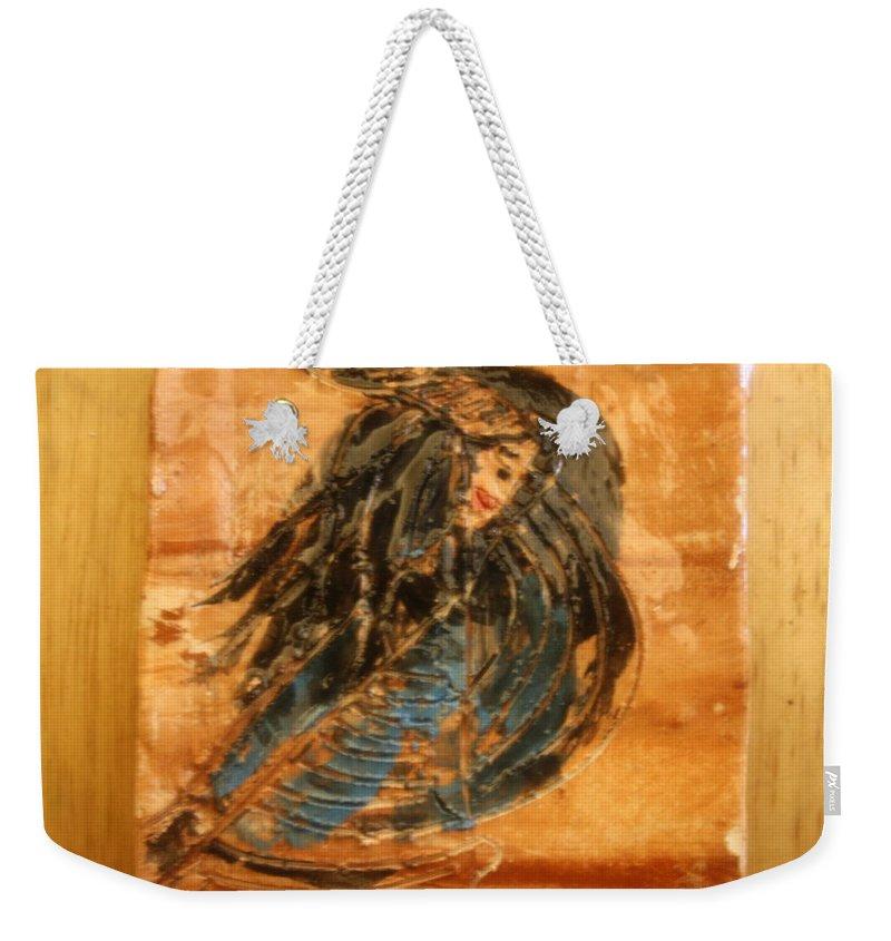 Jesus Weekender Tote Bag featuring the ceramic art The Walk - Tile by Gloria Ssali