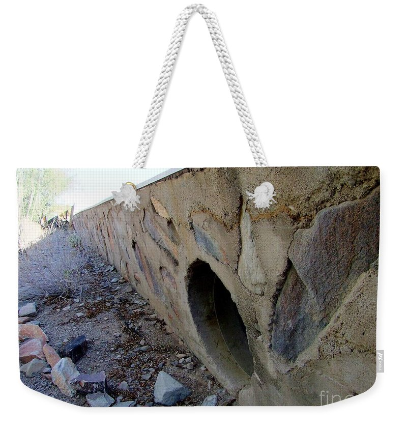 Wall Weekender Tote Bag featuring the photograph The Wall At Taliesen In Arizona by Mary Deal
