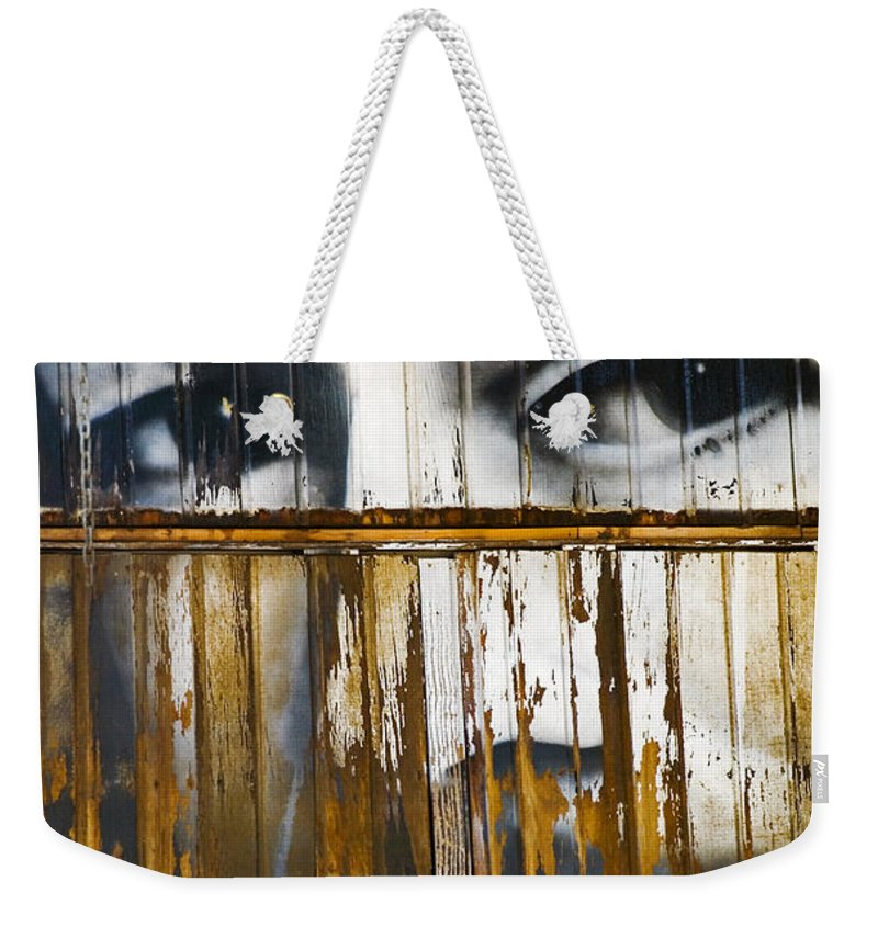 Escondido Weekender Tote Bag featuring the photograph The Walls Have Eyes by Skip Hunt