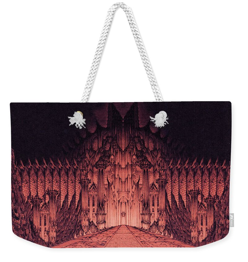 Barad Dur Weekender Tote Bag featuring the drawing The Walls Of Barad Dur by Curtiss Shaffer
