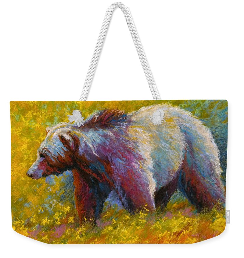 Western Weekender Tote Bag featuring the painting The Wandering One - Grizzly Bear by Marion Rose