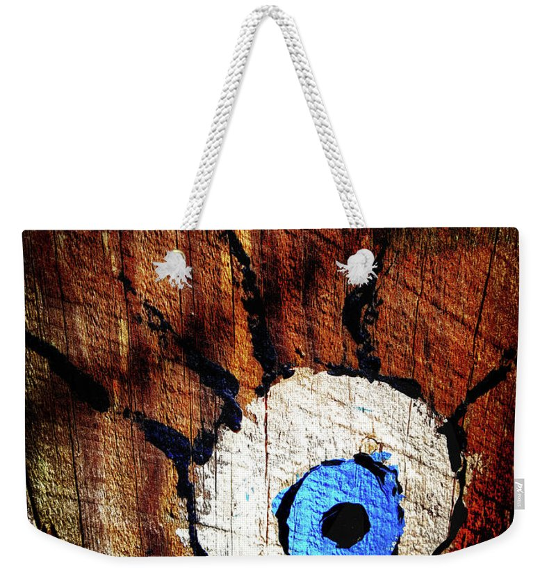 Creepy Weekender Tote Bag featuring the photograph The Watcher by Aaron James