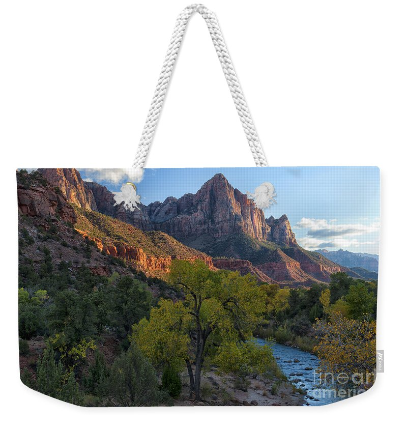 Hdr Weekender Tote Bag featuring the photograph The Watchman And Virgin River by Sandra Bronstein