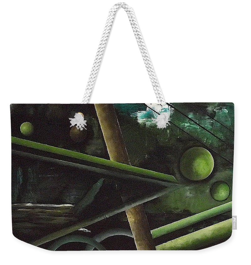 Weekender Tote Bag featuring the painting The waterfall by Ara Elena