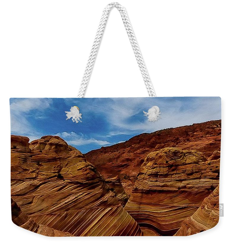 Landscapes Weekender Tote Bag featuring the photograph The Wave by George Weekes