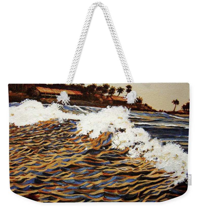 Wave Weekender Tote Bag featuring the painting The Wave by Usha Shantharam