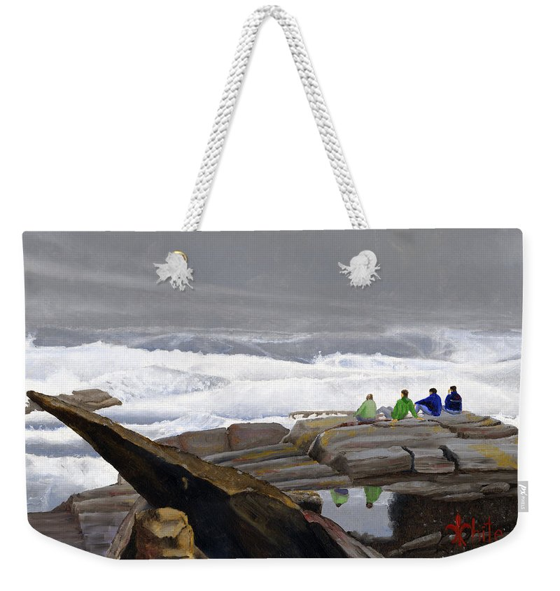 Waves Weekender Tote Bag featuring the painting The Wave Watchers by Dominic White