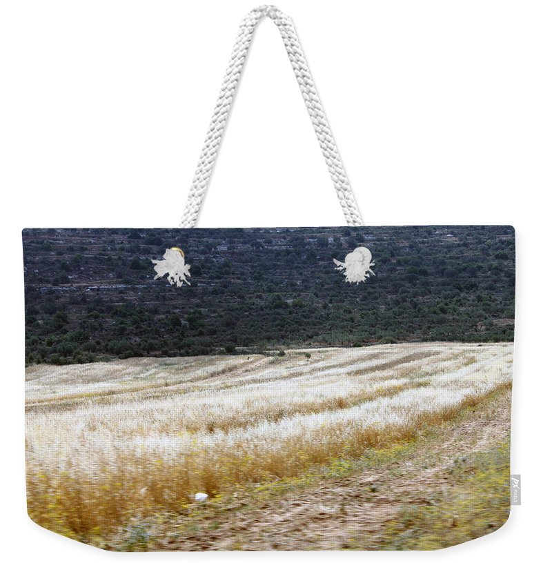 Landscape Weekender Tote Bag featuring the photograph The Way To Nablus City by Munir Alawi