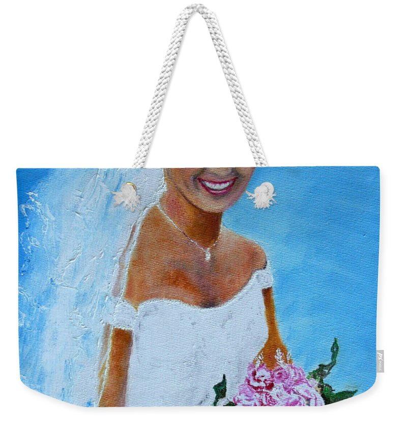 Wedding Weekender Tote Bag featuring the painting the wedding day of my daughter Daniela by Helmut Rottler