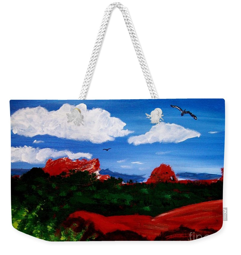 Acrylic Weekender Tote Bag featuring the painting The West by Michael Grubb