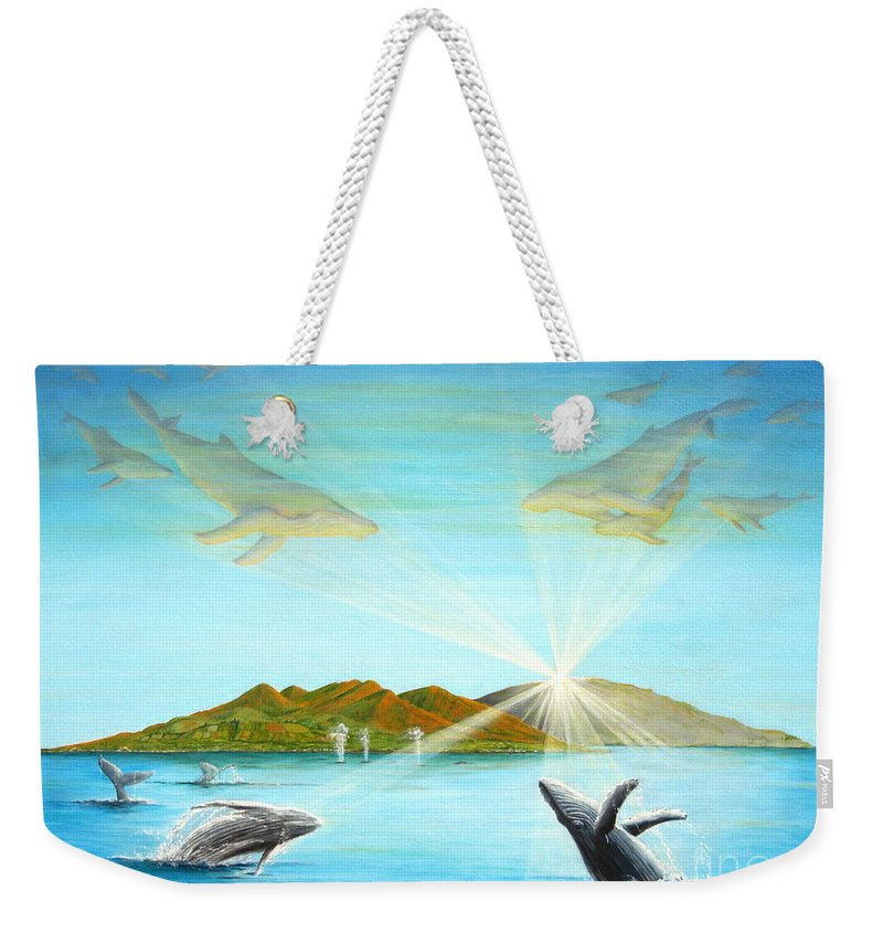 Whales Weekender Tote Bag featuring the painting The Whales Of Maui by Jerome Stumphauzer