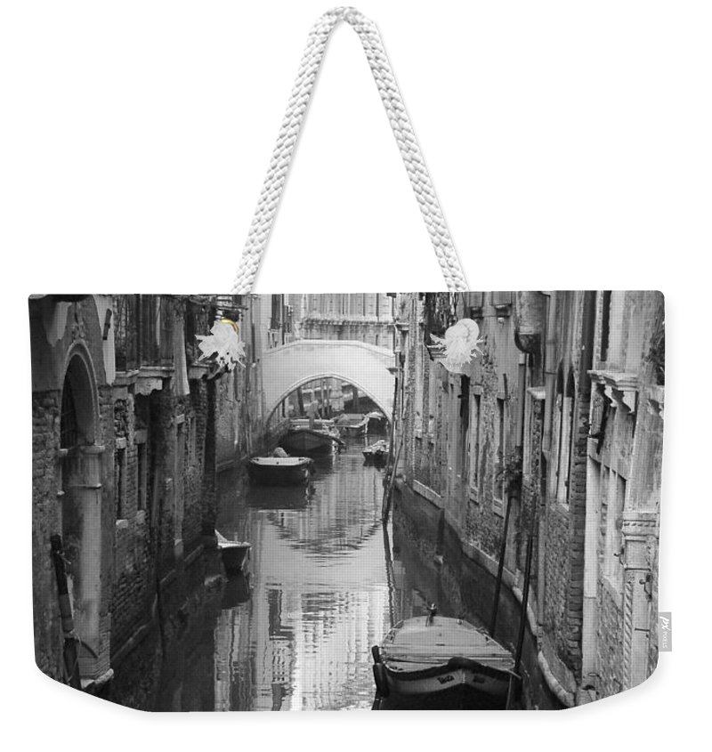 Venice Weekender Tote Bag featuring the photograph The White Bridge by Donna Corless