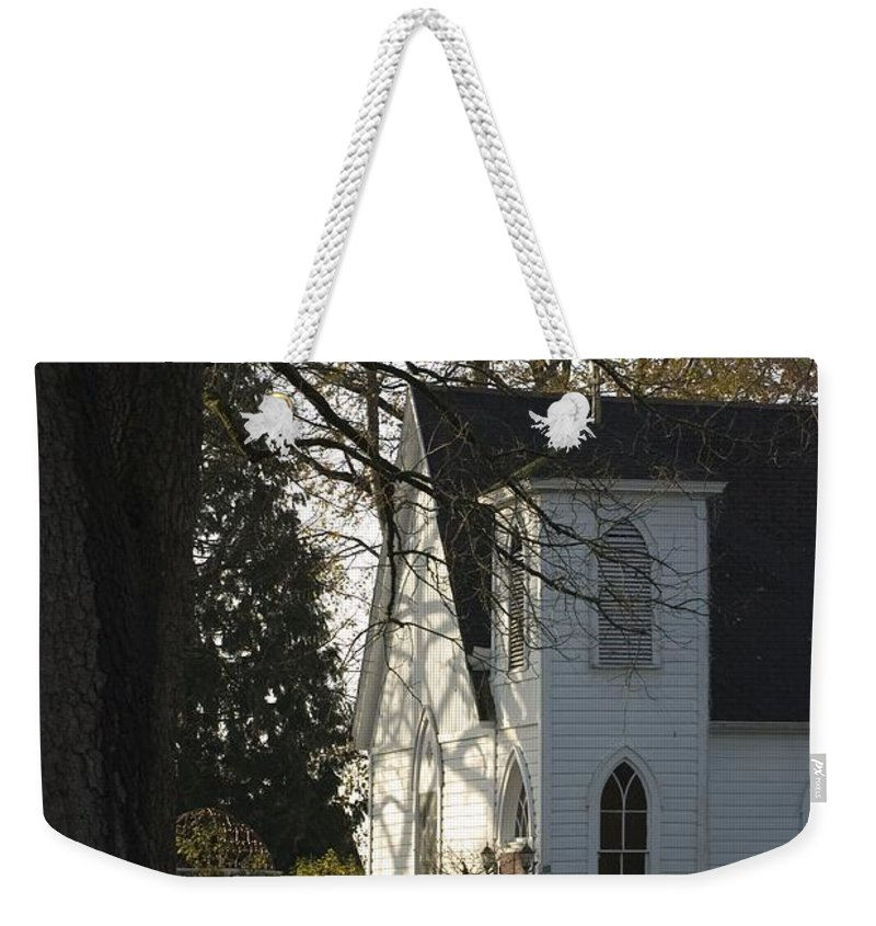 Church Weekender Tote Bag featuring the photograph The White Church by Sara Stevenson