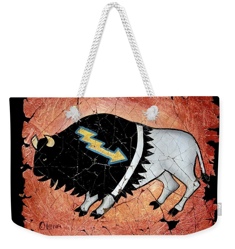 Buffalo Weekender Tote Bag featuring the painting The White Sacred Buffalo Fresco by OLena Art Brand