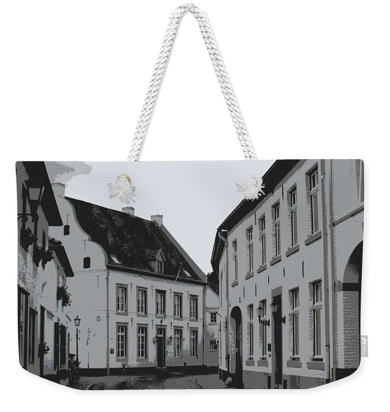 Gray And White Weekender Tote Bag featuring the photograph The White Village - Digital by Carol Groenen
