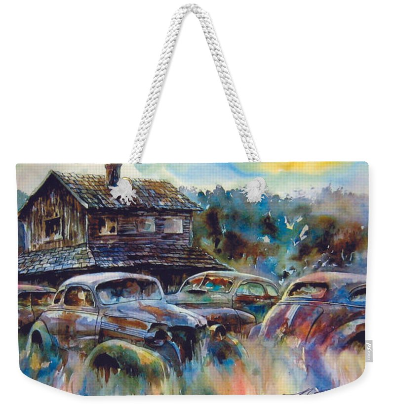 Old Rusty Dilapidated Cars House Weekender Tote Bag featuring the painting The Wide Spread by Ron Morrison
