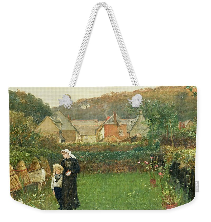 Female; Mother; Child; Mourning; Sailor Suit; Beehive; Garden; Walking Weekender Tote Bag featuring the painting The Widow by Charles Napier Hemy