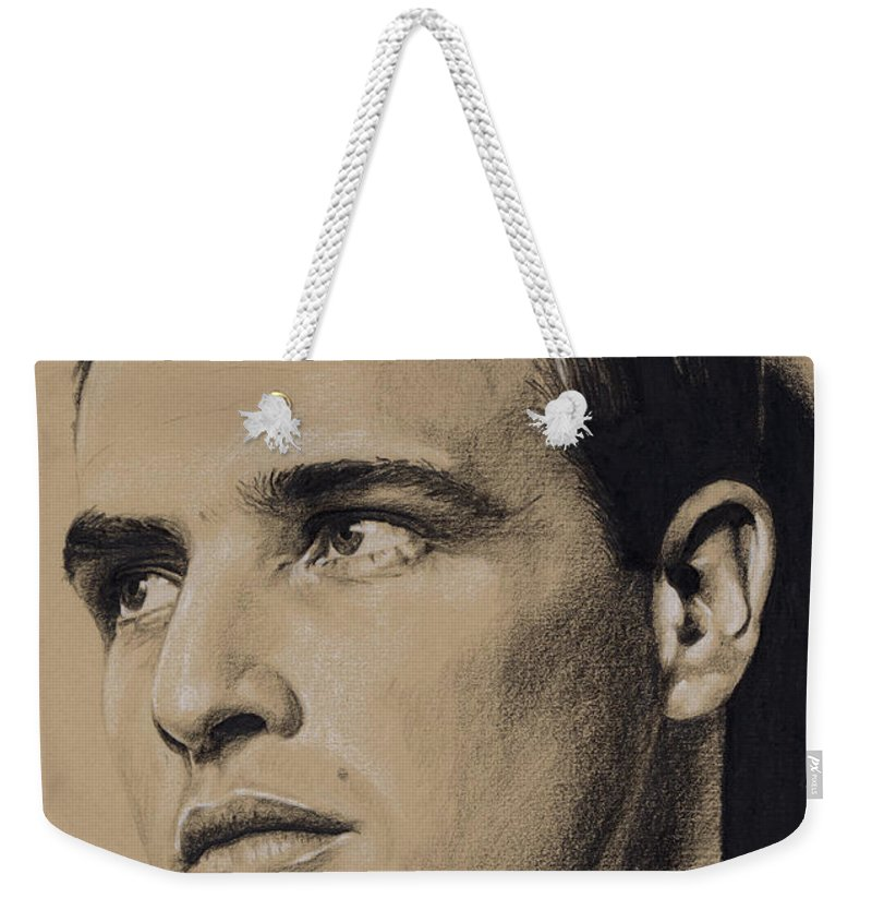 Marlon Brando Weekender Tote Bag featuring the drawing The Wild One by Rob De Vries