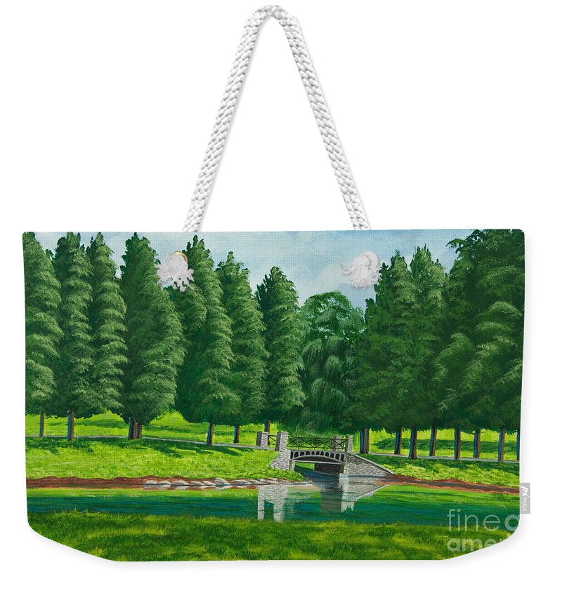 Colgate University Taylor Lake Weekender Tote Bag featuring the painting The Willow Path by Charlotte Blanchard
