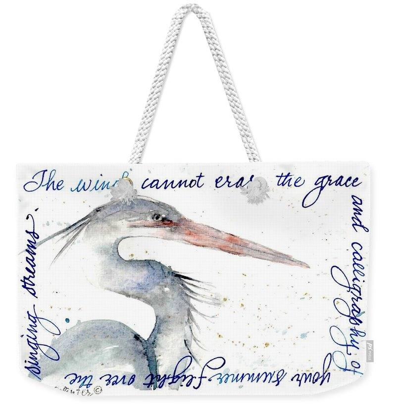 Blue Heron Weekender Tote Bag featuring the painting The Wind Cannot Erase Your Flight by Diane Splinter