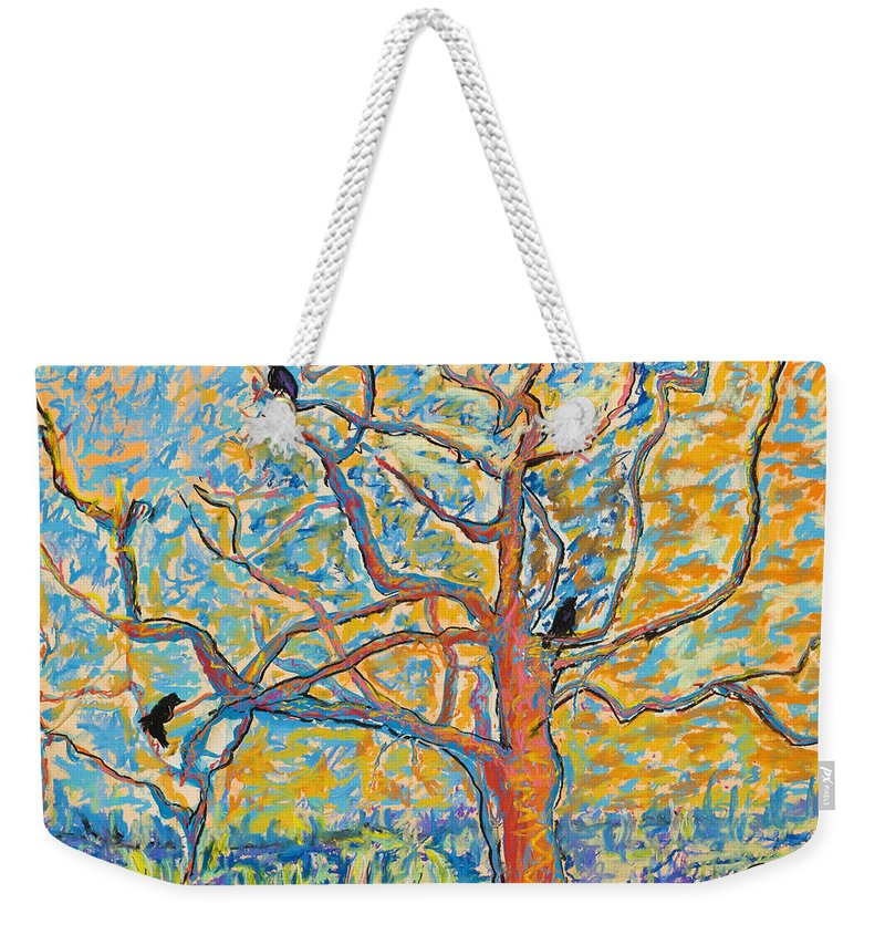 Abstract Painting Weekender Tote Bag featuring the mixed media The Wind Dancers by Pat Saunders-White