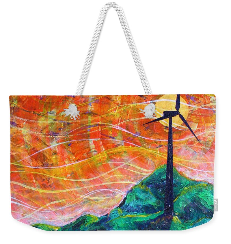 Rollin Weekender Tote Bag featuring the painting The Wind by Rollin Kocsis
