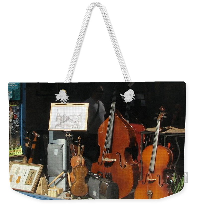 Violin Weekender Tote Bag featuring the photograph The Window In Mittenwald by Mary Ellen Mueller Legault