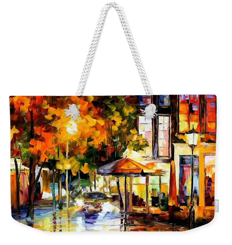 Afremov Weekender Tote Bag featuring the painting The Windows Of Amsterdam by Leonid Afremov
