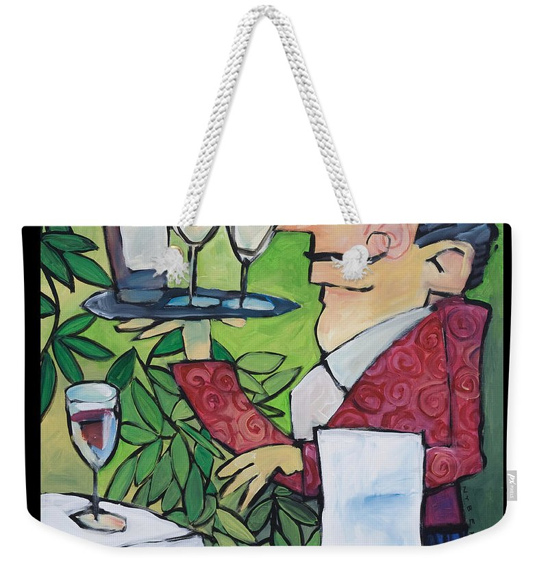 Wine Weekender Tote Bag featuring the painting The Wine Steward - Poster by Tim Nyberg