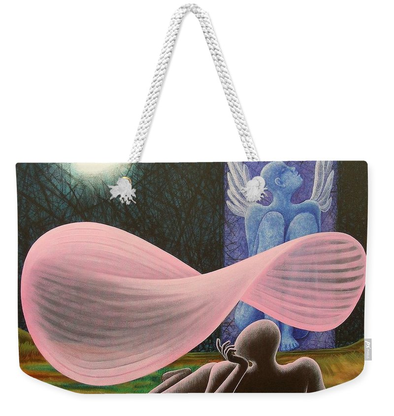 Romantic Weekender Tote Bag featuring the painting The Wings by Raju Bose