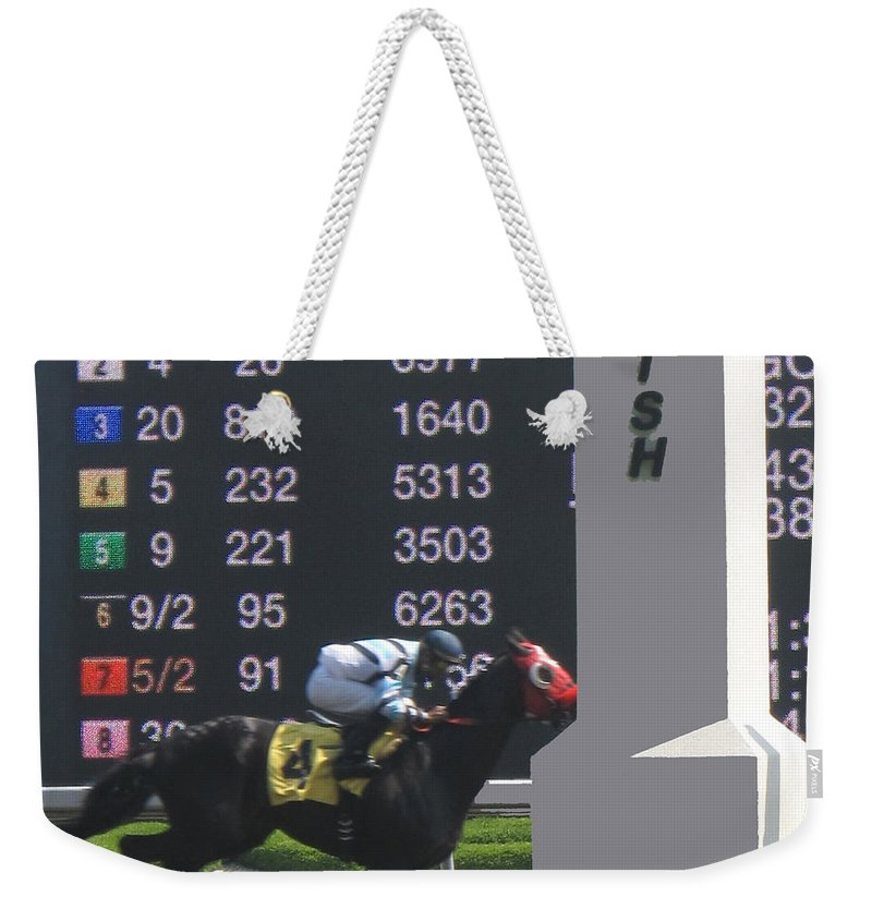 Horse Weekender Tote Bag featuring the photograph The Winner by Ian MacDonald