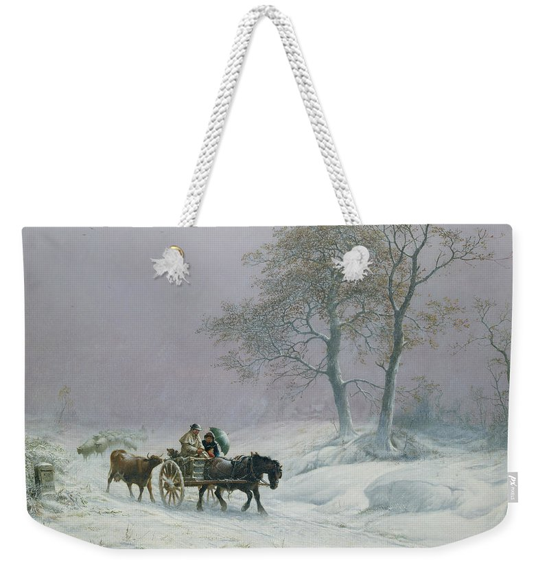The Weekender Tote Bag featuring the painting The Wintry Road To Market by Thomas Sidney Cooper