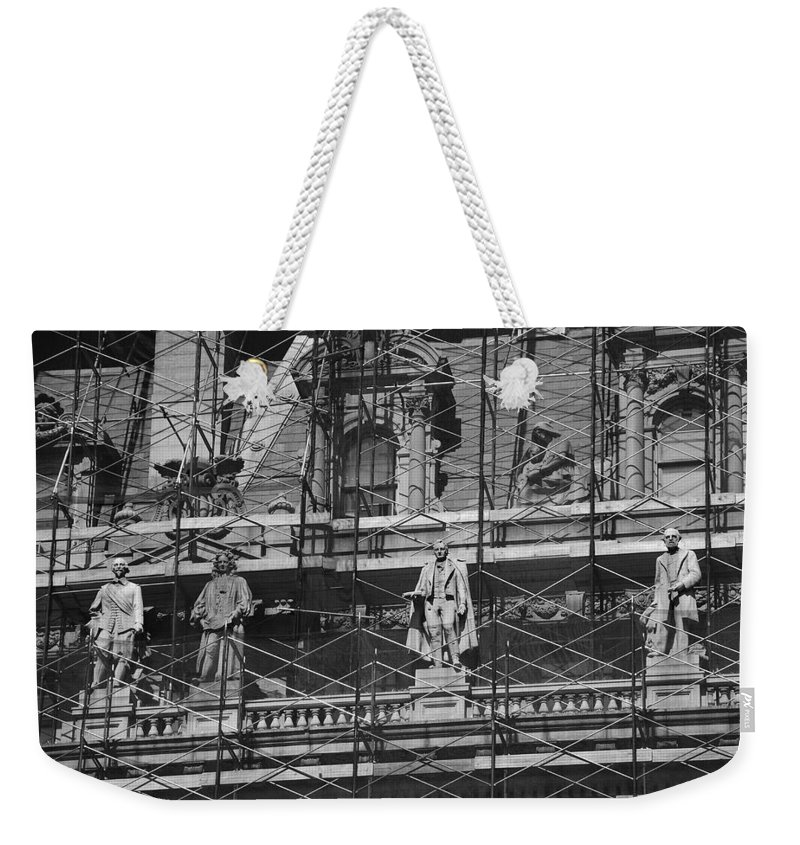 Black And White Weekender Tote Bag featuring the photograph The Wiseguys by Rob Hans