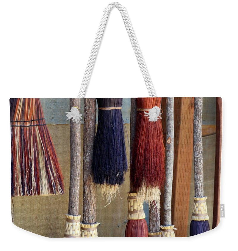 Brooms Weekender Tote Bag featuring the photograph The Witches Brooms by Portraits By NC