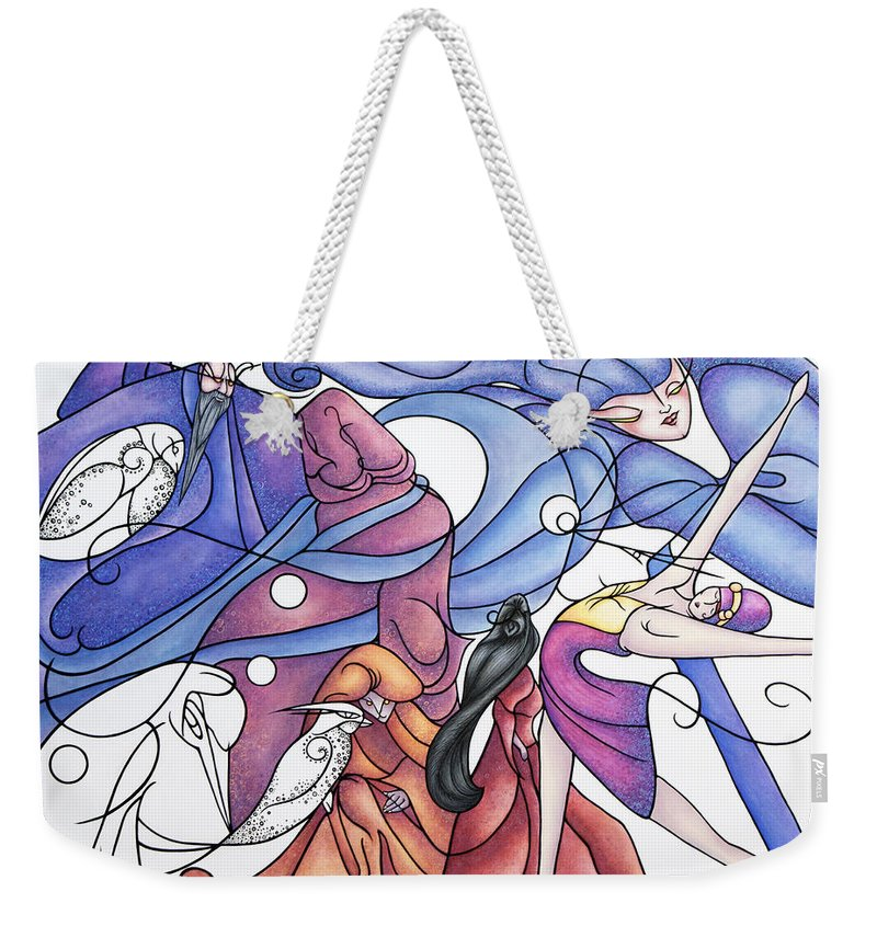 Wizard Weekender Tote Bag featuring the painting The Wizards Daughter by Judy Henninger