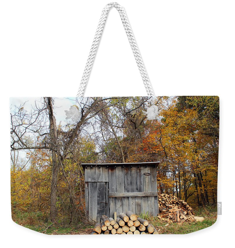Shed Weekender Tote Bag featuring the photograph The Wood Shed by Lorraine Baum