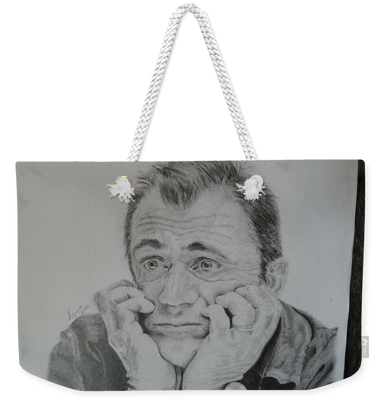 Weekender Tote Bag featuring the drawing The Worried Mel by Maria Gina