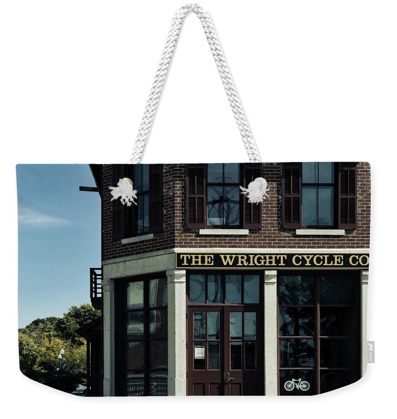 Dayton Weekender Tote Bag featuring the photograph The Wright Cycle Company - Dayton Ohio by Mountain Dreams
