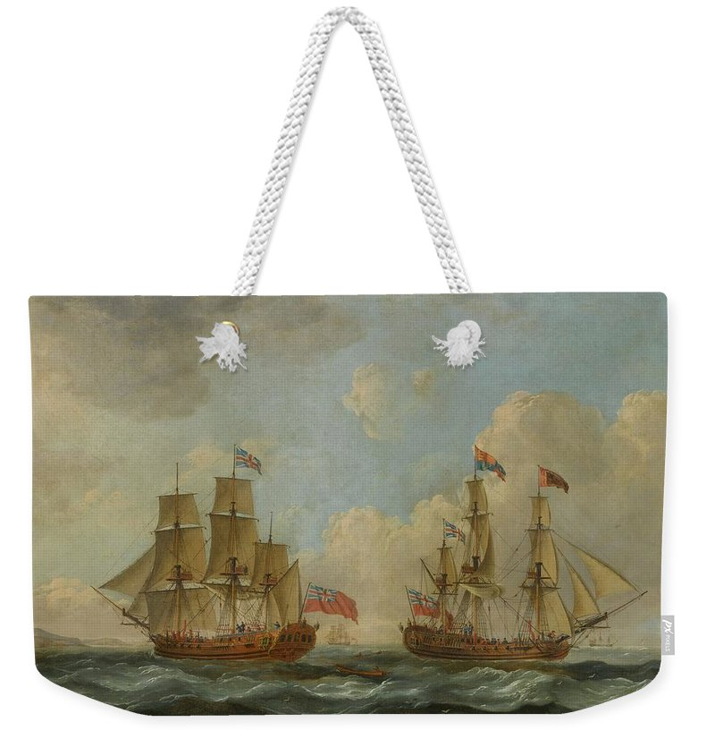 John Cleveley The Elder 1712 - 1777 The Yacht Royal Charlotte In Two Positions Off The Coast Weekender Tote Bag featuring the painting The Yacht Royal Charlotte by John Cleveley